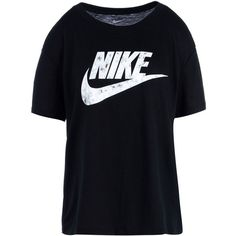 Nike T-shirt ($35) ❤ liked on Polyvore featuring tops, t-shirts, black, jersey tee, nike tops, logo t shirts, short sleeve tops and polyester t shirts