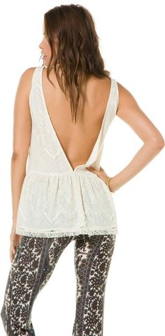 Lace tank with deep V back. http://www.swell.com/New-Arrivals-Womens/LUCCA-LACE-TANK?cs=IV