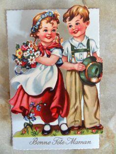 Carte Postale À Système Relief Bonne Fete Maman Fleurs Chromo Découpis Ancien