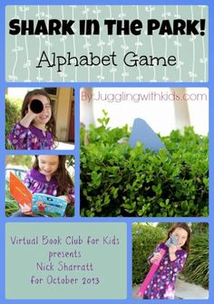 Great book and great teaching game! (without them knowing they are learning) Juggling With Kids: Shark in the Park! Alphabet Game + Free Printable: Virtual Book Club for Kids Kindergarten Language Arts, Preschool Learning Activities, Preschool Books, Activities For Kids, Preschool Ideas, Language Activities, Teaching Ideas, Craft Ideas, Shark Games For Kids