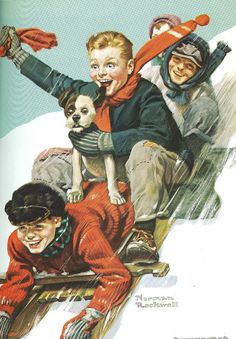 Norman Rockwell famous art print Four Boys on a Sled,Decor Perfect Wall Hanging For Your Home, A Nice Gift for home, Reproduction print - Jola - Art Norman Rockwell Prints, Norman Rockwell Paintings, Christmas Drawing, Christmas Art, Christmas Images, Peintures Norman Rockwell, Norman Rockwell Christmas, Sled Decor, Vintage Christmas Cards