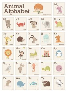 Animal Alphabet by Sarah Ward Alphabet For Kids, Alphabet Book, Childrens Alphabet, Alphabet Nursery, Alphabet Print, Preschool Crafts, Crafts For Kids, Children Crafts, Preschool Letters