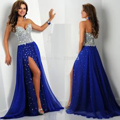 Dazzling Sweetheart Neckline Sleeveless A-Line Long Royal Blue Strong Beaded/Crystal Prom Dresses 2014 Front Slit Party Gowns $189.00
