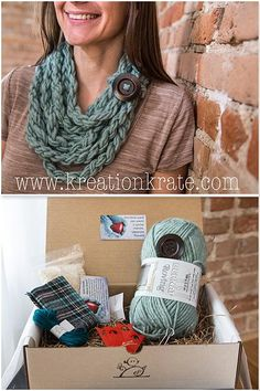 Neck Cowl Craft Kit for Adults + pocket hand warmers Random Act of Kindness Craft from Kreation Krate - No crochet or knitting skills required!
