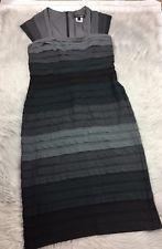Tadashi Shoji Black Gray Ombré Pleat Ruffle Cap Sleeve Dress Sz Large
