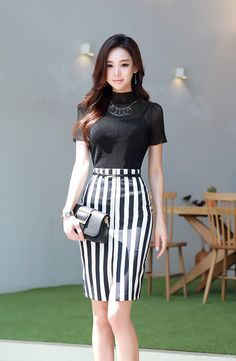 outfits for females ladies online boutique,what hipsters wear latest fashion dresses dresses for weddings high street outfits. Ropa Semi Formal, Urban Fashion, Womens Fashion, Fashion Top, Cheap Fashion, High Neck Blouse, Korean Outfits, Korean Women, Skirt Outfits