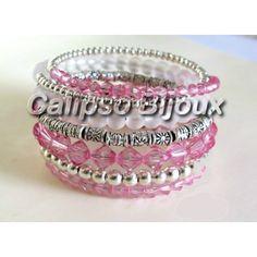 Bracciale a spirale con giri di perle di varie dimensioni e colori Realizzato a mano confilo armonico e perle in vetro, acrilico, argento tibetano