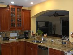 Kitchen Cabinetry, Granite Top U0026 Backsplash, Cut Out Opening Into Living  Room Part 75