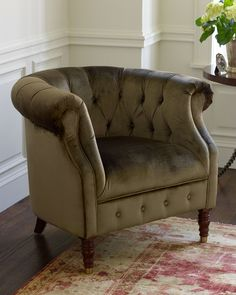 """Birch/beechwood frame. Rayon/cotton crushed velvet upholstery. 35""""W x 31""""D x 30""""T. Imported. Boxed weight, approximately 70 lbs."""