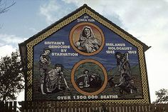 "Ireland's Holocaust mural on the Ballymurphy Road, Belfast. ""An Gorta Mor, Britain's genocide by starvation, Ireland's holocaust 1845-1849."
