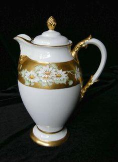 1800's DAISIES & HEAVY GOLD Limoges Tea Pot