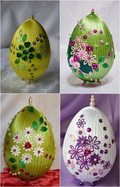 faux faberge eggs decorated with ribbons and sequins