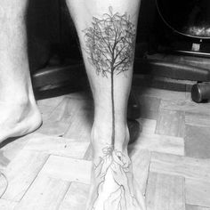 Male With Tree Roots Leg And Foot Tattoo