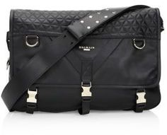 Balmain Nomade Quilted Leather Messenger Bag