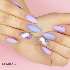I love violets from time to time Long Cute Nails, Cute Nails For Fall, Acrylic Nails Coffin Glitter, Almond Acrylic Nails, Purple Nails, Bling Nails, Stylish Nails, Trendy Nails, Magic Nails
