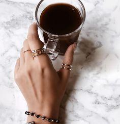 Coffee lover / coffee addict / morning coffee / dark coffee / dark roast coffee / marble flatlay / personalized Roman numeral ring / beaded bracelet / morning rituals / morning essentials