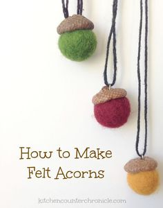 Collect a few acorn tops and follow this step by step tutorial to make a felt acorn. We share how to turn the acorns into sweet felt acorn necklaces...perfect fall accessory.