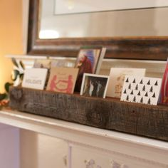 Use a reclaimed wood beam to create this rustic modern stand for collecting and displaying holiday cards as they arrive through the season!