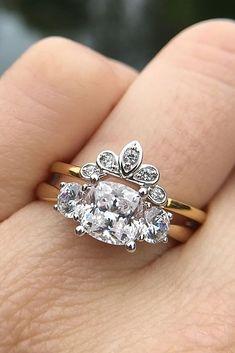 30 Brilliant Cushion Cut Engagement Rings ❤️ cushion cut engagement rings wedding set gold vintage ❤️ See more: http://www.weddingforward.com/cushion-cut-engagement-rings/ #weddingforward #wedding #bride