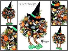 SALE Deluxe Deco Mesh #Witch Wreath #Halloween by FancyWreathLady
