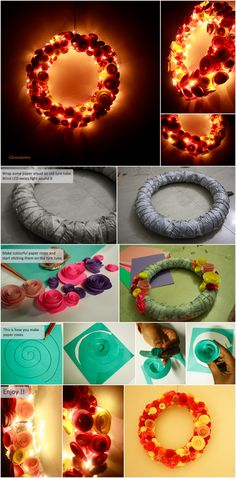 Glowssoms : Flowery Lamp made by using old tyre tube, LED lights and paper roses  #DYI & Crafts# lamps # Lights