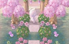 Animal Crossing Inspiration : Photo Love the bushes near the trellis, probably use white flowers instead of pink