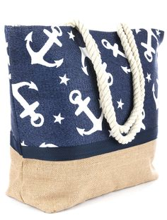 This Tote bag is perfect for all your beach accessories. The tote comes in Blue or Red and offers a beautiful Anchor and star print, burlap bottom with a zip closure interior pocket and waterproof inn
