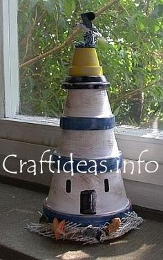 Clay pot lighthouse. There are no instructions on this light house. But it's easy enough to figer it out by the picture.