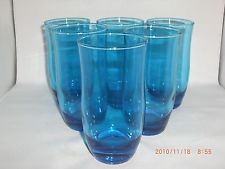 6 Anchor Hocking Laser Blue Flair Pattern Water 12 ozs Glasses Tumblers