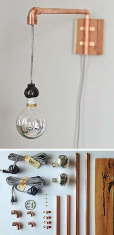 Desk Lamps For Beautiful Task Lighting – Beautiful Lamps Luminaria Diy, Diy Luminaire, Copper Lamps, Copper Wall, Copper Pipes, Creation Deco, Modern Floor Lamps, Modern Wall, Pipe Lamp