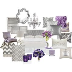 Lavender and Grey Bedroom by chloeg01 on Polyvore featuring interior, interiors, interior design, home, home decor, interior decorating, Arteriors, Safavieh, Jonathan Adler and Gingerlily