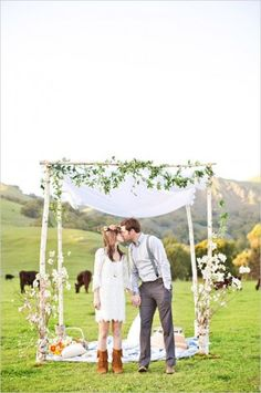 The simple farm setting was the perfect back drop for these two boho chic lovers to celebrate their wedding day.