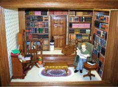 Hand Made Miniature Library Roombox from www.mumandmeminiatures.com.au
