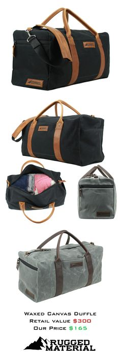 Square Waxed Canvas and Leather Duffle or Duffel Bag! By Rugged Material, now funding on Kickstarter!