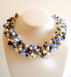 Vintage Necklace Blue Glass Crystal Fresh Water by LakeBreezes, $59.50