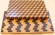 Tumbling Block and Cafe Wall End Grain Cutting Boards