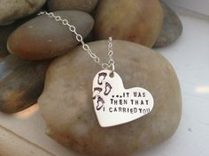 It was then that I carried you hand stamped sterling silver pendant  foot prints in the sand on Etsy, $26.00