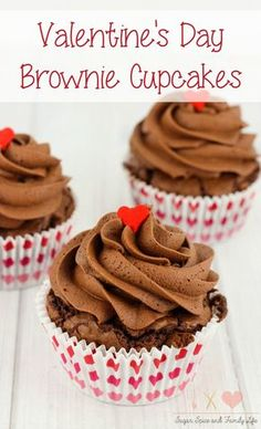 Valentine's Day Brownie Cupcakes will be enjoyed by chocolate lovers and brownie lovers. Each chocolate brownie cupcake is covered with chocolate frosting and topped with a heart sprinkle. The chocolate dessert is perfect as a Valentine's Day dessert for your love. - Valentine's Day Brownie Cupcakes Recipe on Sugar, Spice and Family Life