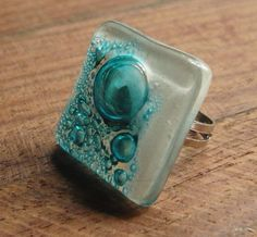 Gorgeous White and turquoise fused glass ring with bubbles from #Eriador @Lelanie Denso Villar