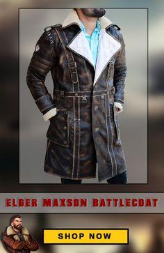 45fd8b363db Elder Distress Brown Leather Fur Colar Jacket for Men. Elder MaxsonBattle  JacketLeather ArmorFallout