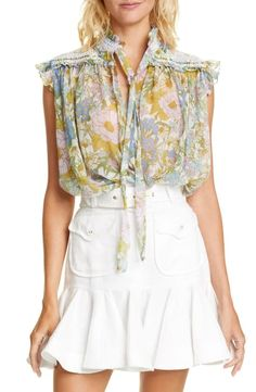 Floral Tops, Floral Prints, Silk Fabric, World Of Fashion, Chiffon Tops, Girl Outfits, Ruffle Blouse, Nordstrom, Clothes