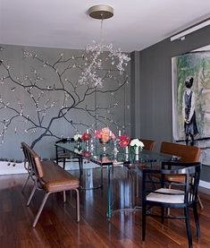 simple design hand painted wallpaper