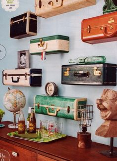 Flea Market Flip Lara Spencer | ... suitcases re-purposed into shelves (Flea Market Style Magazine. How cool would this be in a guest room.