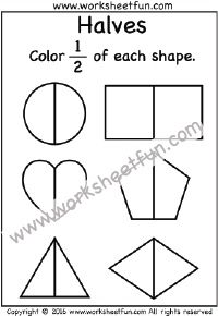 Fractions – Halves – Coloring – One Worksheet / FREE Printable Worksheets Free Fraction Worksheets, 1st Grade Math Worksheets, Fractions Worksheets, Free Printable Worksheets, First Grade Math, Kindergarten Worksheets, Kindergarten Teachers, Learning Fractions, Math Fractions