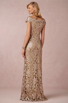 Gold lace and sequin gown