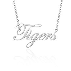 This cutout necklace collection features the name of your favorite team in a beautiful script letting style. The nameplate is made from solid sterling silver and suspended from a high quality 18 in chain. Show your spirit in style!