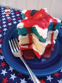 "Patriotic Mini Star Cakes  ""Oh, say can you see..."""