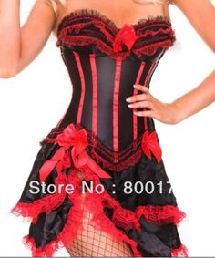f1babec955e free shipping 8068-7009 Burlesque Red Stripe Corset   skirt Fancy dress  outfit Hen costume