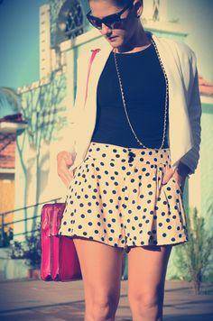 Vintage outfit. Poa shorts and white blazer