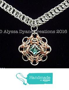 "Chainmaille Mandala Pendant Necklace with Emerald Swarovski Crystal on 20"" Half Persian Chain from Alyssa Dyane Creations https://www.amazon.com/dp/B01DCUMBC4/ref=hnd_sw_r_pi_dp_HO-8wbVRR2D6D #handmadeatamazon"